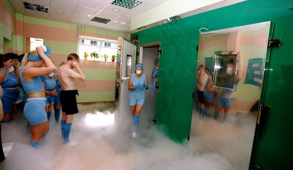 The cryotherapy chamber at the Olympic Sports Center in Spala, Poland, is used by athletes to speed up muscle recovery.
