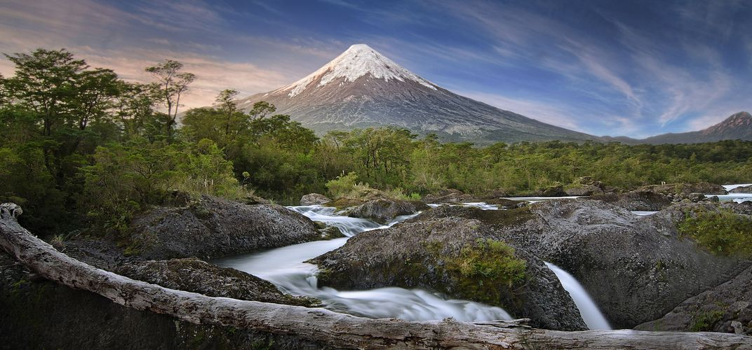Osorno Volcano with Petrohue Falls, Vicente Pérez Rosales National Park, Chile