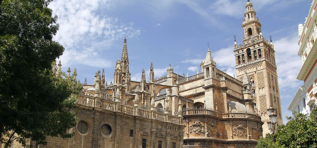 The immense Gothic cathedral of Seville