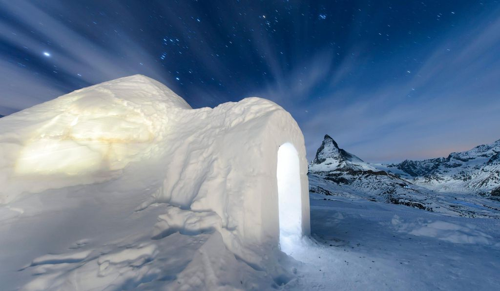 Guests at the Igloo Village in Zermatt can spend the night inside an igloo.