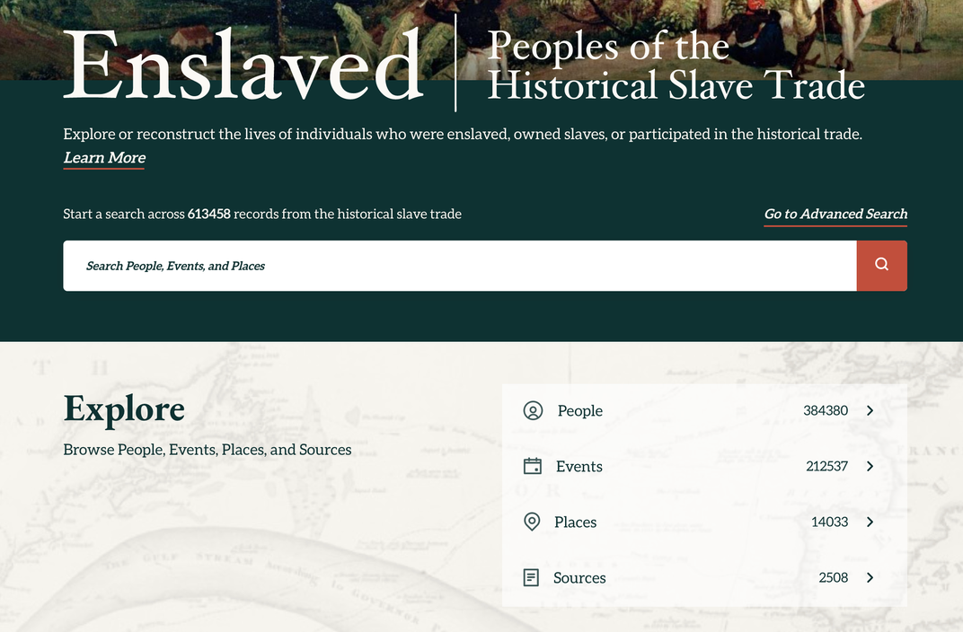 Screenshot of Enslaved.org portal
