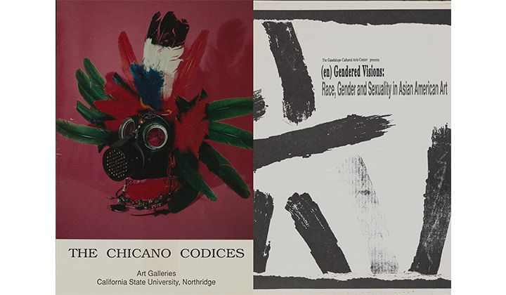 Exhibition announcement for The Chicano Codices, 1993. Kathy Vargas papers, 1980-2015. Archives of American Art, Smithsonian Institution. Exhibition catalog for (en)Gendered Visions: Race, Gender and Sexuality in Asian American Art, 1992. Kathy Vargas papers, 1980-2015. Archives of American Art, Smithsonian Institution.