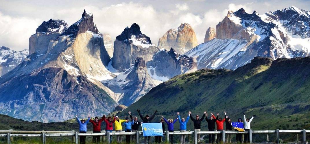 Smithsonian travelers in Torres Del Paine National Park, Chile. Credit: Alex Maureira