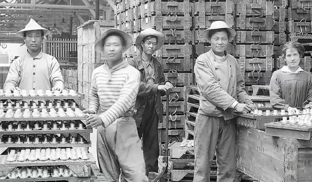 In other cases, Chinese workers staffed munitions factory during World War I.