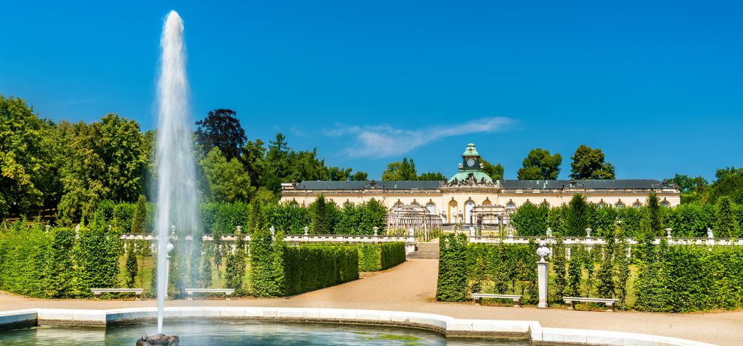 The formal gardens enhance the Bildergalerie Palace at Sanssouci in Potsdam, outside of Berlin.