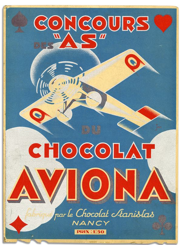 image of plane against a blue side with red type reading 'concours as chocolat aviona'