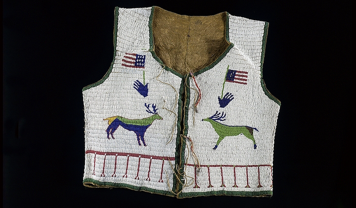 Sicangu Lakota beaded vest (front), ca 1890. South Dakota. National Museum of the American Indian (20/1208). The back of the vest is beaded with the name of the Sicangu Lakota leader Two Strike or Nomkahpa (1831–1915).