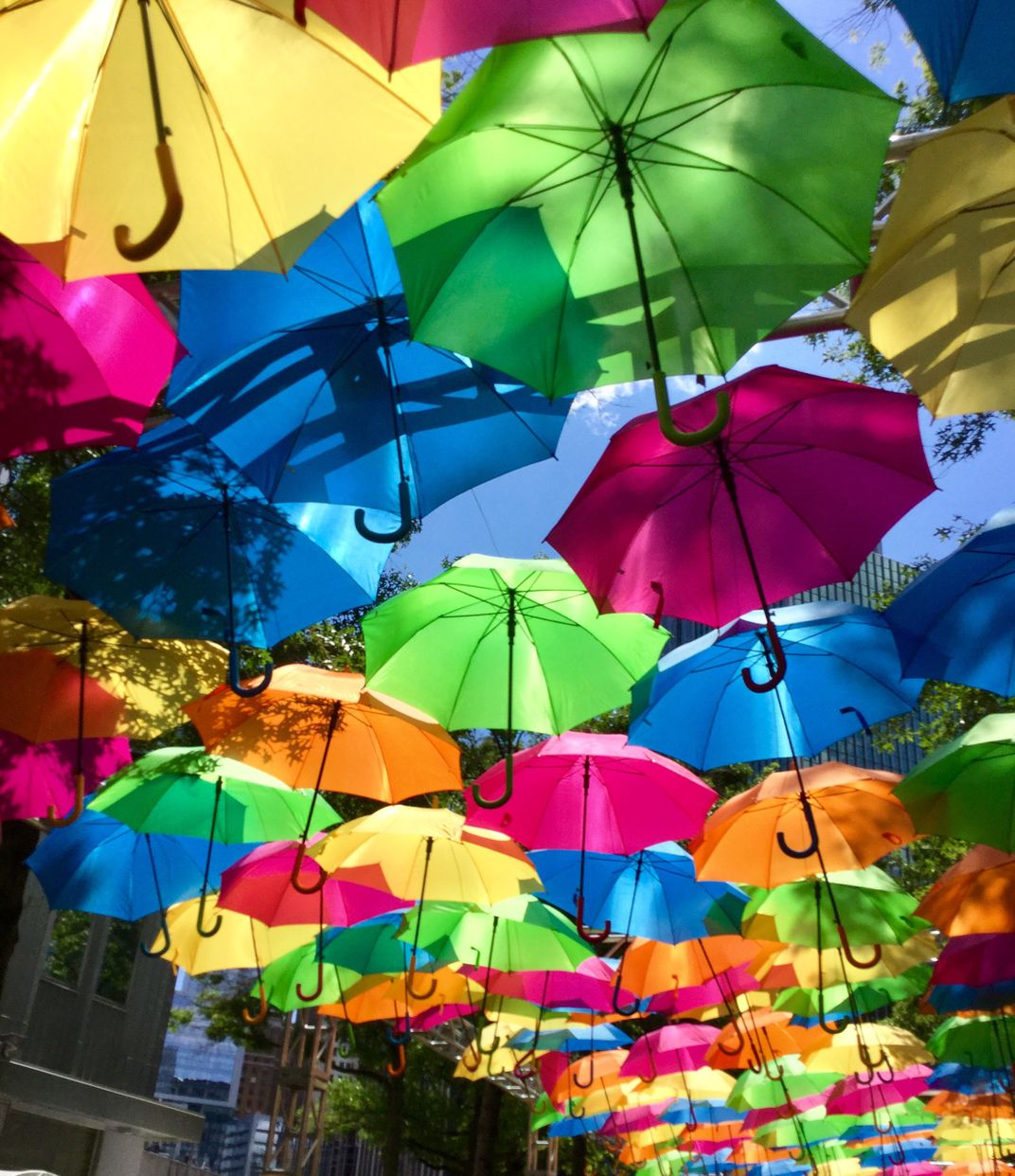Colorful umbrella in the sky of downtown Pittsburgh   Smithsonian ...