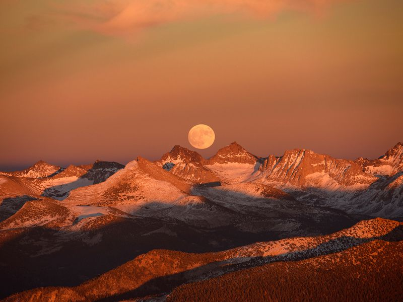 The Supermoon - rising over the Sierras, California. Aerial image (shot from a plane at 12K feet).