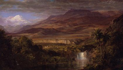 """Frederic Edwin Church, """"Study for """"The Heart of the Andes,"""""""" 1858, oil on canvas, 10 1/4 x 18 1/4 in., Olana State Historic Site, New York State Office of Parks, Recreation and Historic Preservation, OL.1981.47.A.B."""