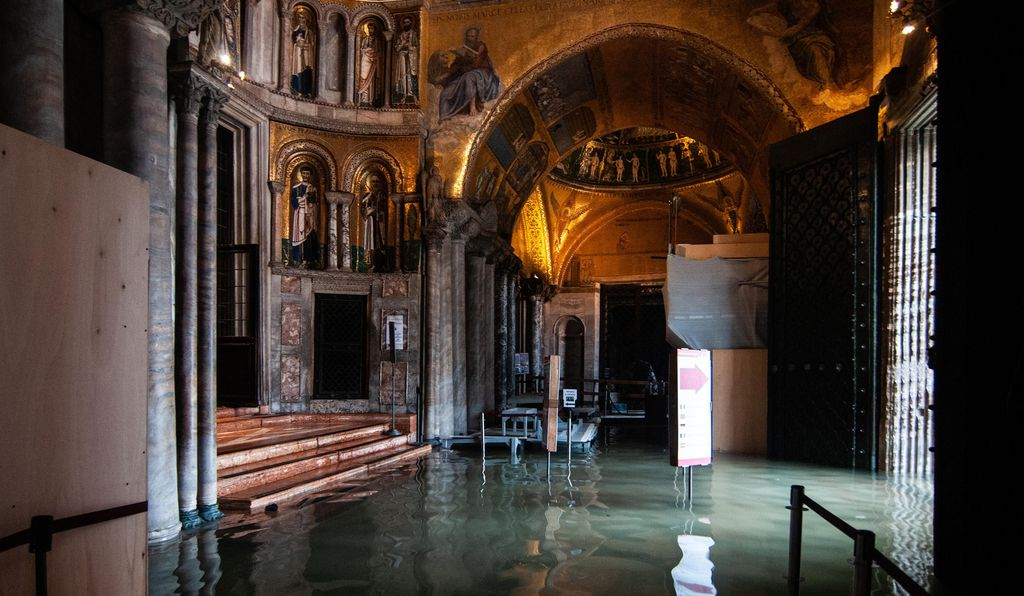 A view inside the flooded Basilica of St. Mark during an exceptional high tide on November 13, 2019 in Venice, Italy.