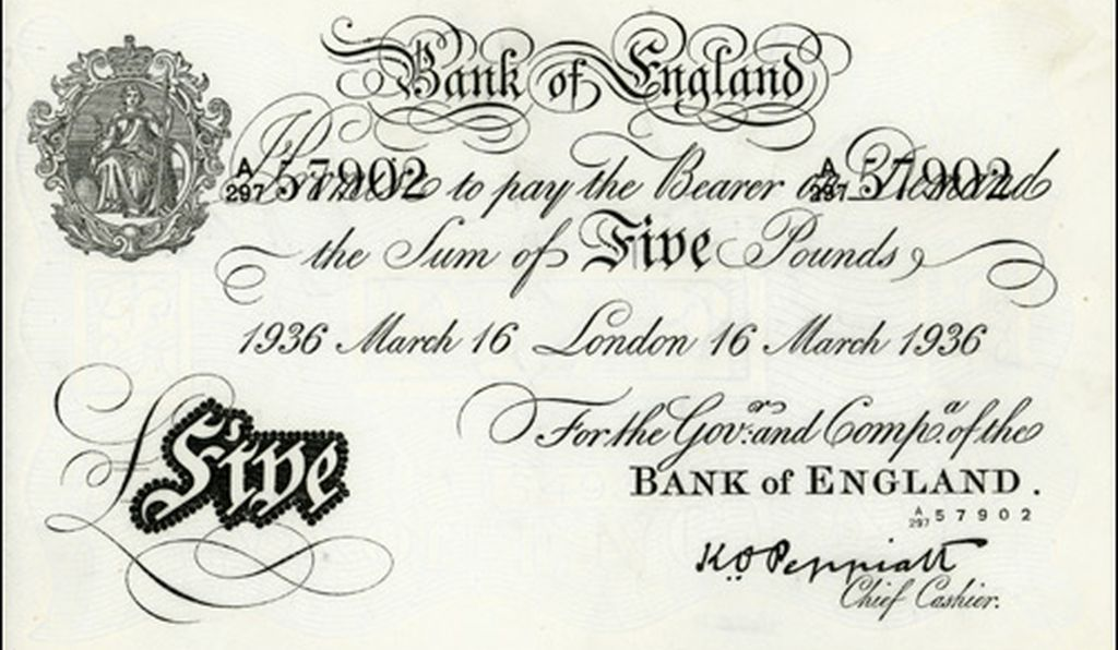 This forged British note was made by prisoners at Sachsenhausen concentration camp in Germany during World War II.