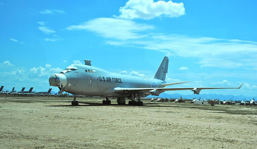 The Airborne Laser, mounted on a commercial Boeing 747-400 airframe, promised a fast shoot-down of incoming ballistic missiles. The YAL-1 test bed sits engine-less,  awaiting its cut-up for scrap at Davis-Monthan AFB.