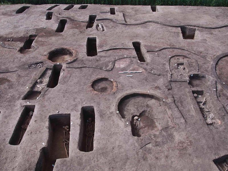 Aerial view of tombs found in Egypt