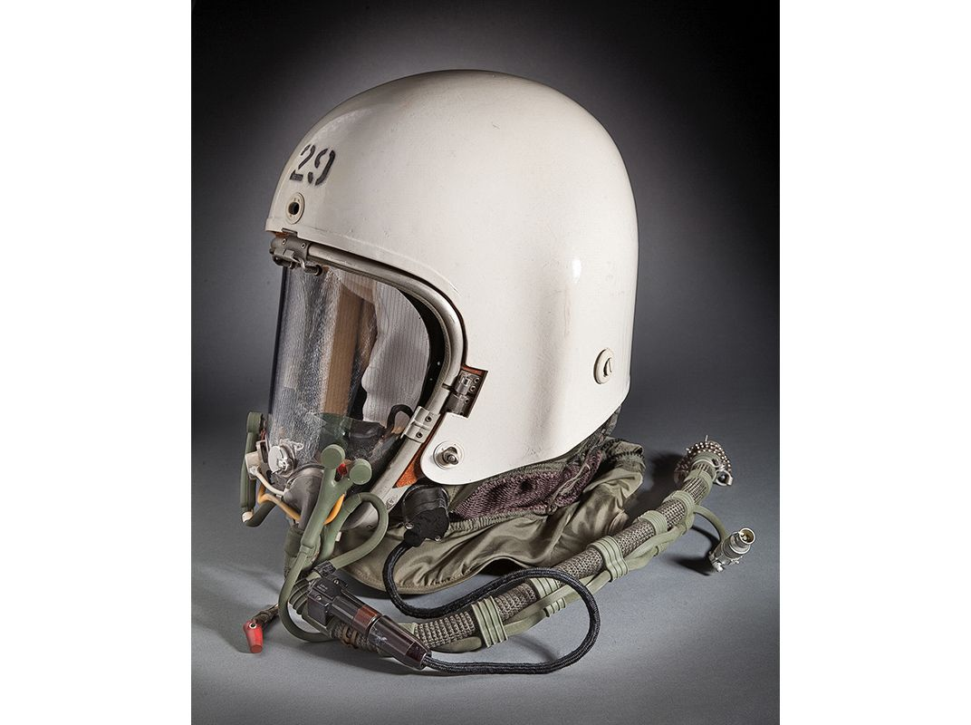 The spare MA-2 pressure helmet from the time of Powers' mission. The U.S.  Air Force insignia normally on the front of the helmet had been painted  over and ...