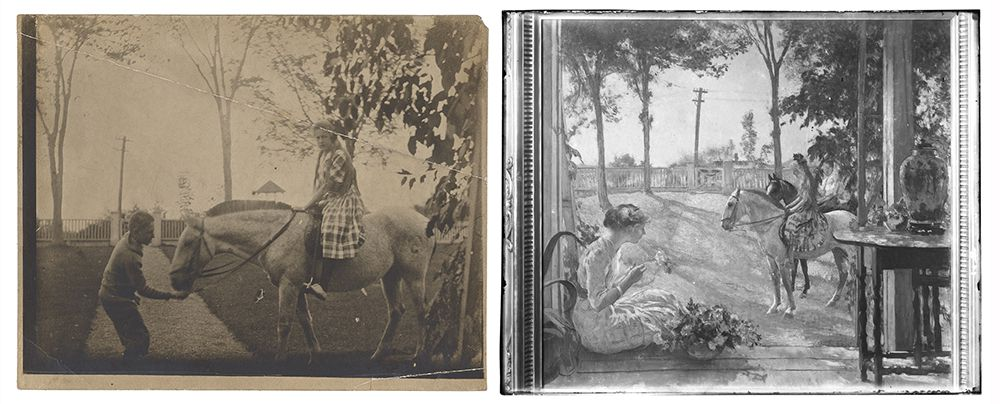 Photograph of the set-up for and a photograph of the painting Going for a Ride by Edmunc C. Tarbell