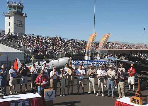 Even if your airplane doesn't fly faster than 500 mph, you can still win a trophy at Reno. Aviation celebrities and event sponsors congratulate the winners of the 11th National Aviation Heritage Invitational, a judged competition recognizing aircraft owne