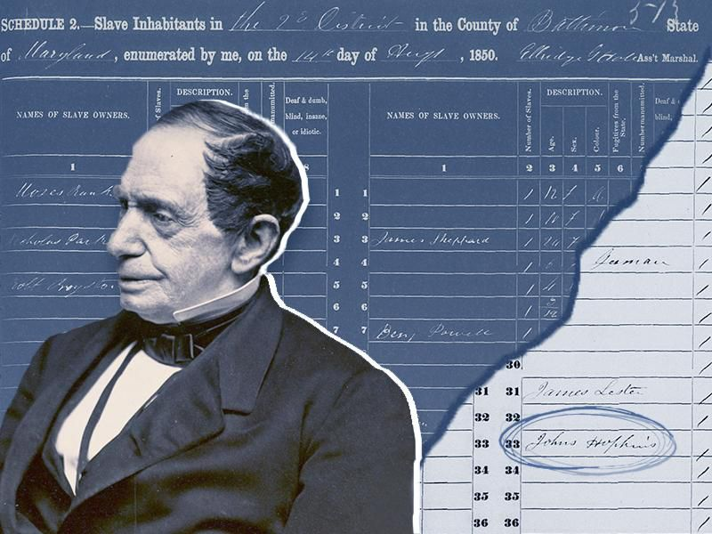 A composite image of Hopkins, center, wearing a fancy suit and looking seriously off to the side; behind him, a cutout of the slave schedule which reads