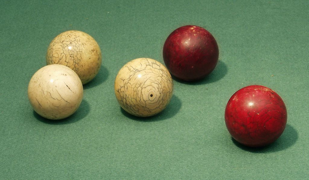Ivory balls like these, from 1925, recall a time when the only real billiard balls were cut from fresh Asian ivory.