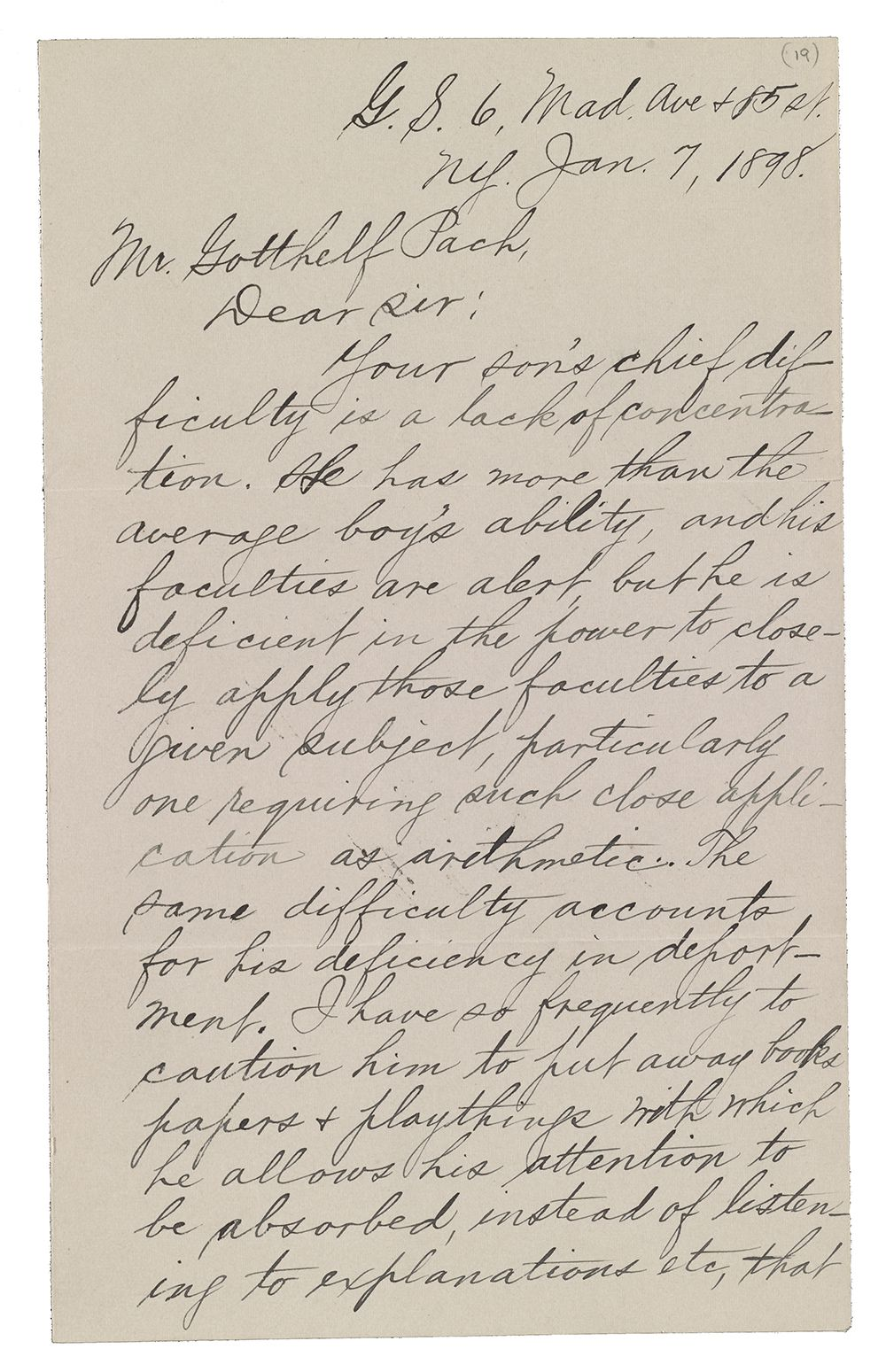 1898 letter to Gotthelf Pach from Magnus Gross regarding the progress of his son, Walter.