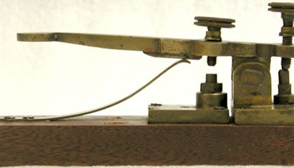 This is a replica of an early telegraph key used by Morse and Vail. (Smithsonian National Museum of American History)