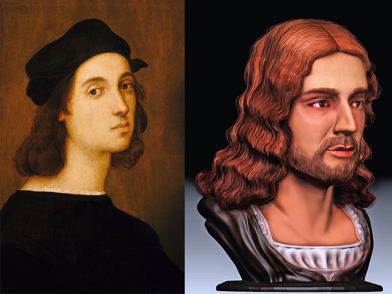 Raphael self-portrait and facial reconstruction