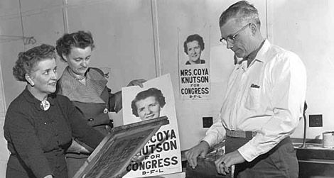 Coya Knutson campaigning for Congress