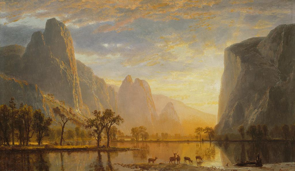 Humboldt inspired a generation of artists, who elevated the genre of landscape painting (above: <em>Valley of the Yosemite</em> by Albert Bierstadt, 1864) by presenting landmark features as emblems of America's cultural ambitions.
