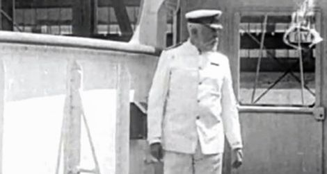 Captain Edward Smith purportedly on the Titanic, but actually filmed a year earlier aboard the Olympic.