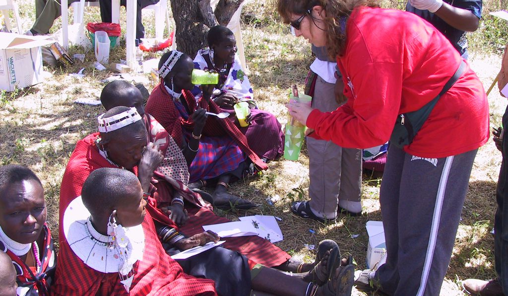Sarah Tishkoff administers a lactose tolerance test to a group of Maasai people in Tanzania. The test measures the ability to digest milk, a trait that Tishkoff and other researchers link with the practice of pastoralism.