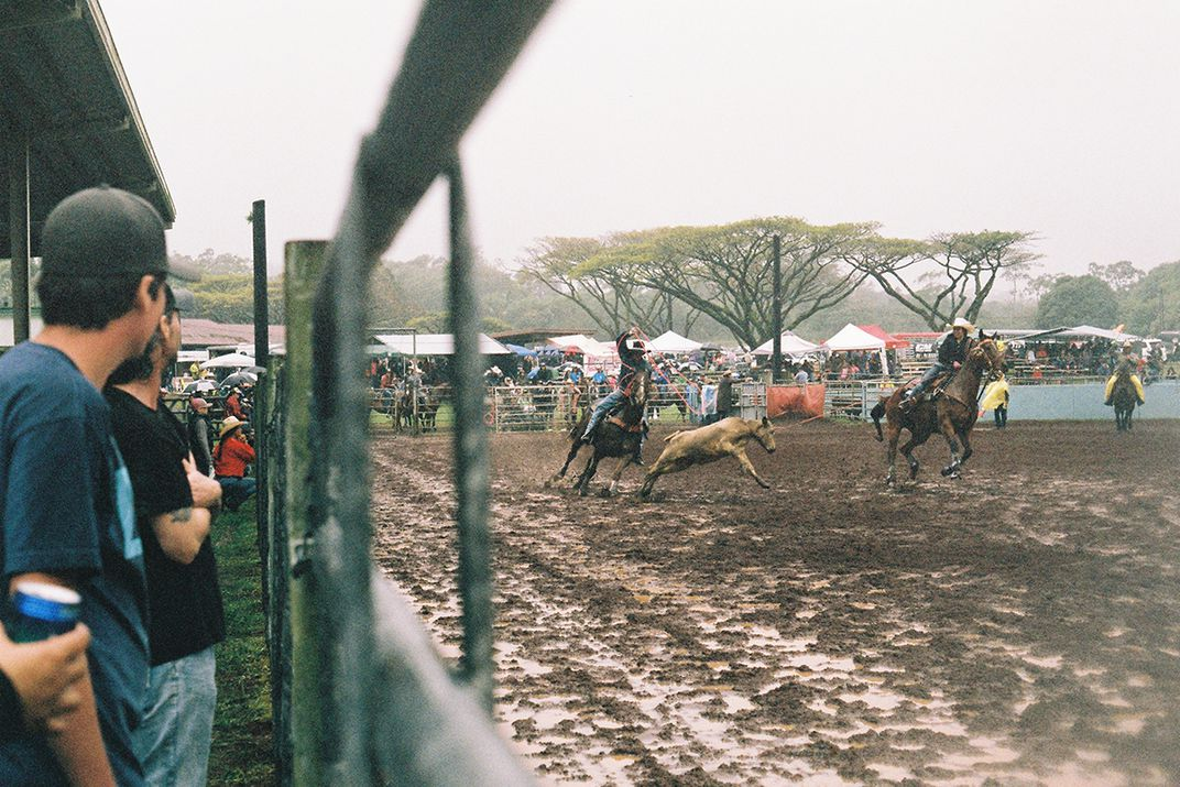 A crowd of people watch a rodeo, as two people on horseback lasso a smaller horse.