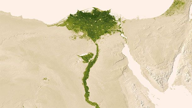 Egypt's verdant Nile River is surrounded by desert.