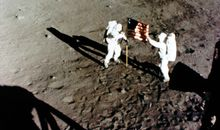 Armstrong and Aldrin plant the U.S. flag on the moon, July 1969.