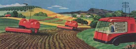 "The farmer of the year 2000 directs his ""robot machines"""