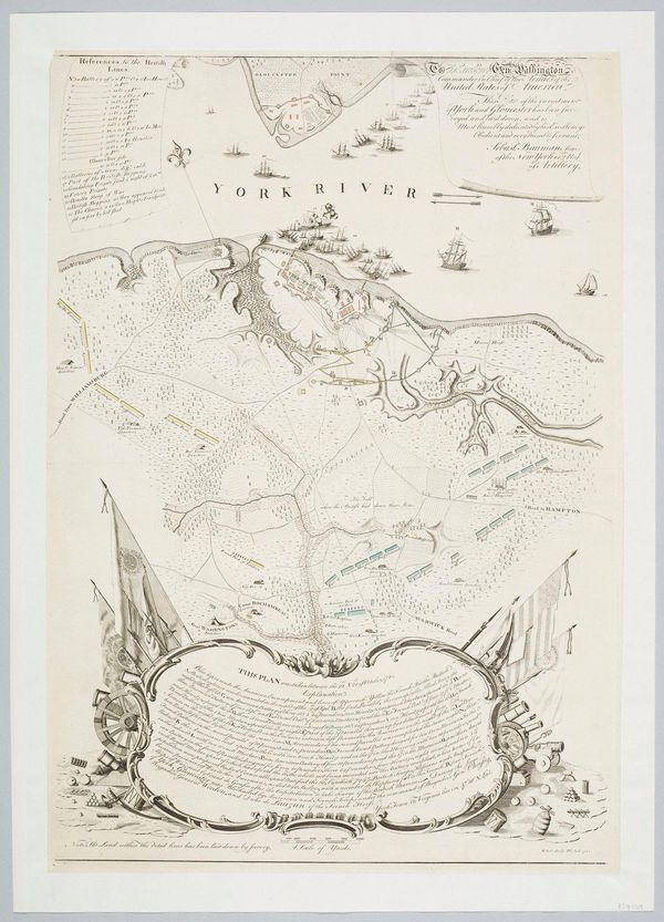 A map of Yorktown being laid siege to by American and French forces from 1781