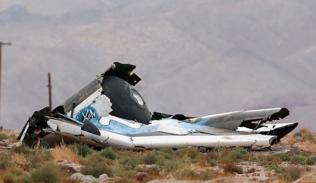 A piece of debris is seen at the SpaceShipTwo crash site in California on October 31.
