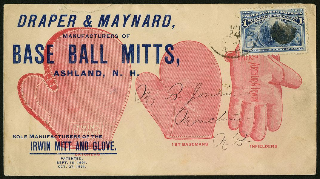 Draper & Maynard, manufacturers of base ball mitts advertising cover