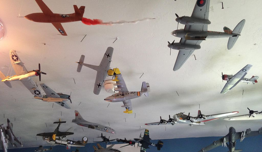 Calling Air Traffic Control: A mix of aircraft, and eras, above Ian's bedroom.
