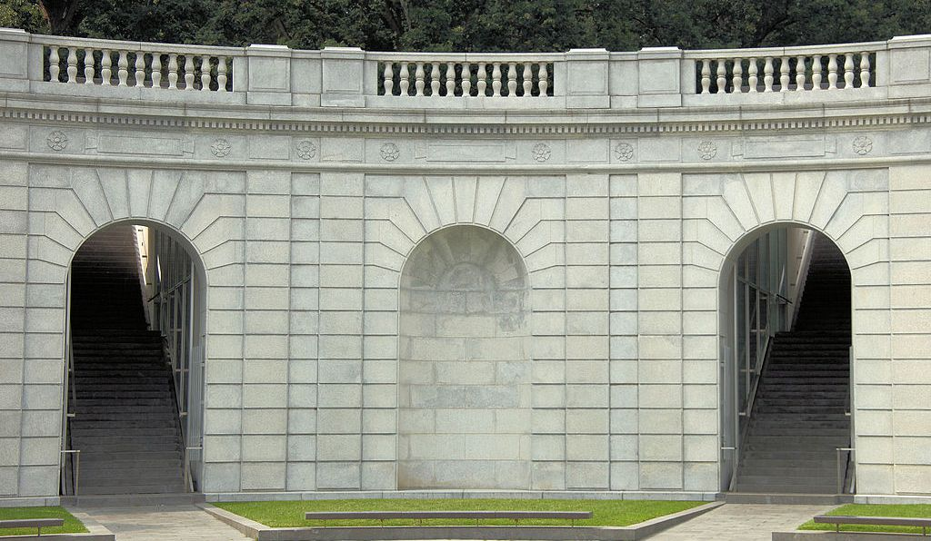 A view of the Women in Military Service for America Memorial. Originally known as the Hemicycle, this ceremonial entrance to Arlington National Cemetery was opened in 1932.