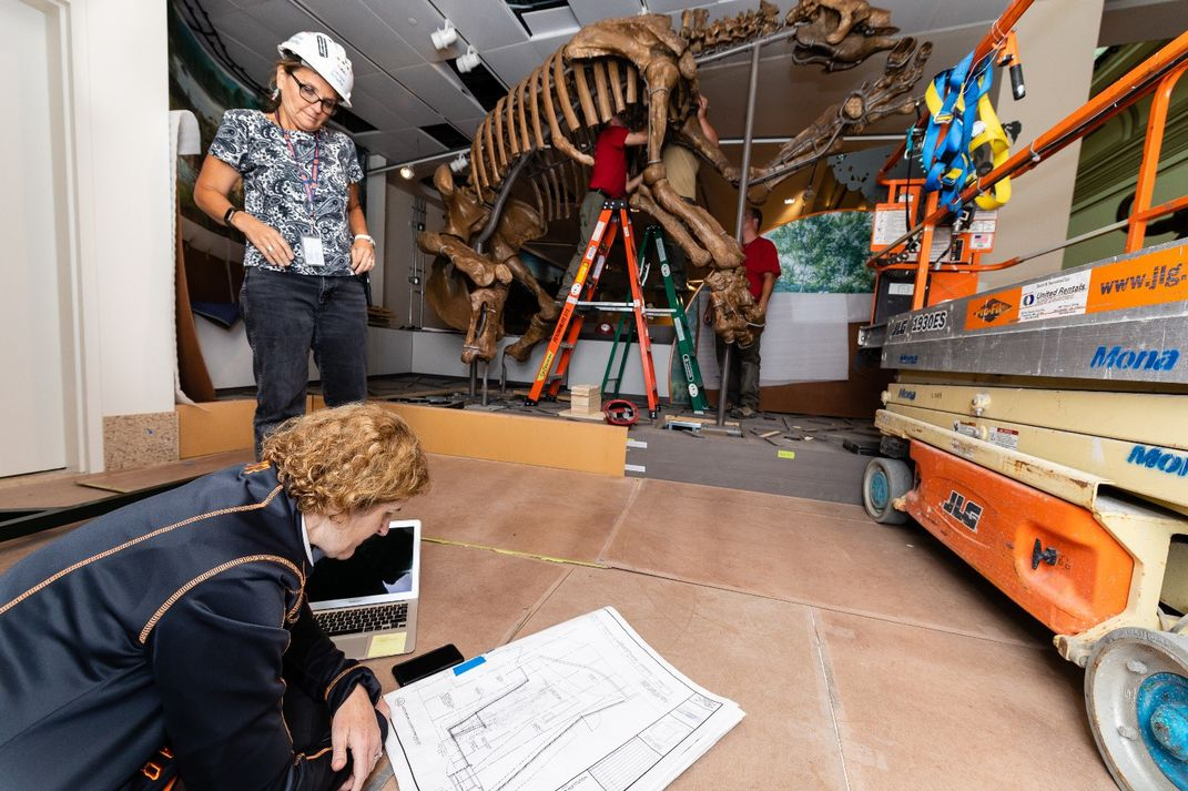 "Siobhan Starrs kneeling on the brown floor to examine a white floor plan of the Smithsonian's new ""David H. Koch Hall of Fossils - Deep Time"""