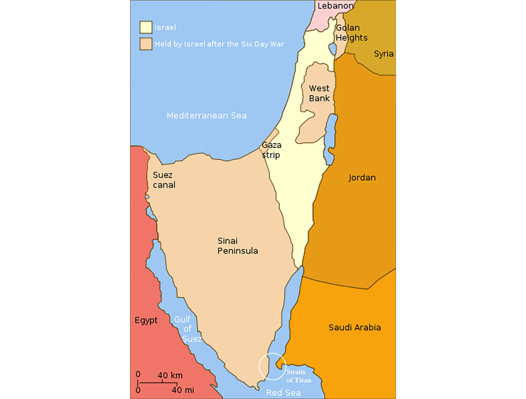A Map Shows How Much Israels Territory Grew After The Six Day War Light Yellow Is The Original Territory Light Orange Shows Where It Expanded To