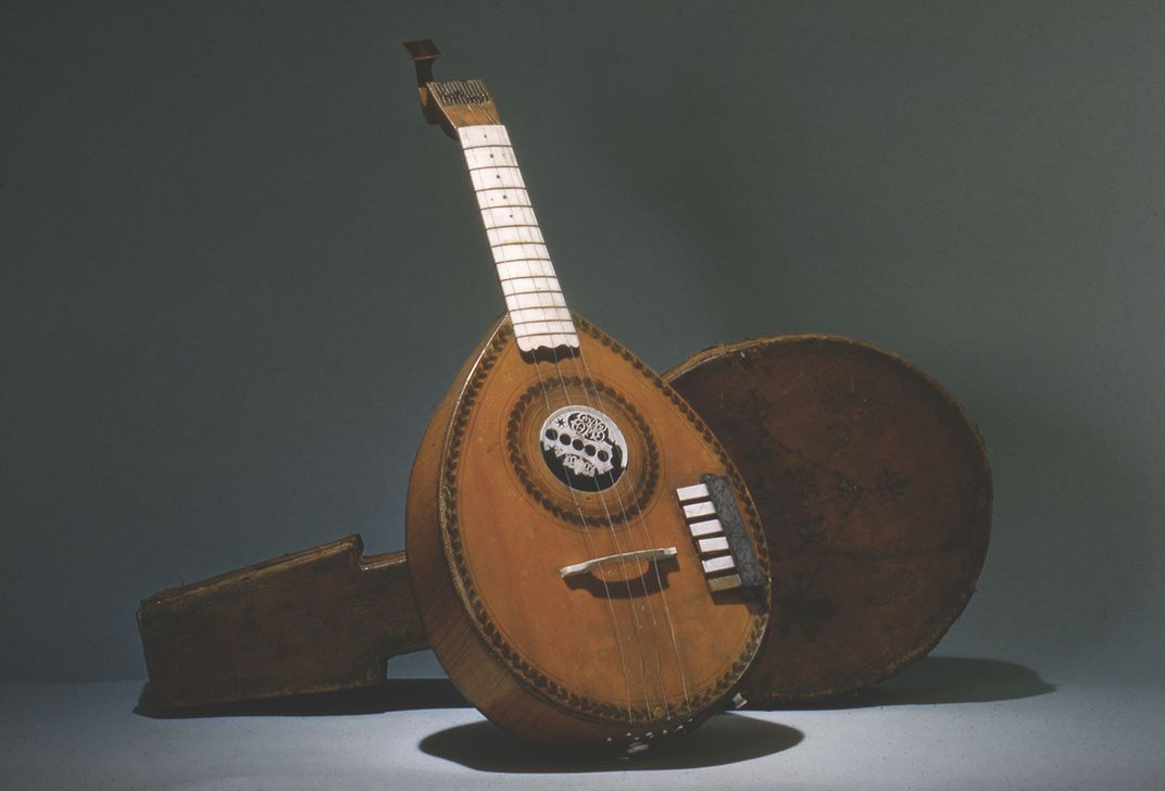 English guitar from Longman and Broderip, London, given to Nelly Parke Custis, by President Washington.