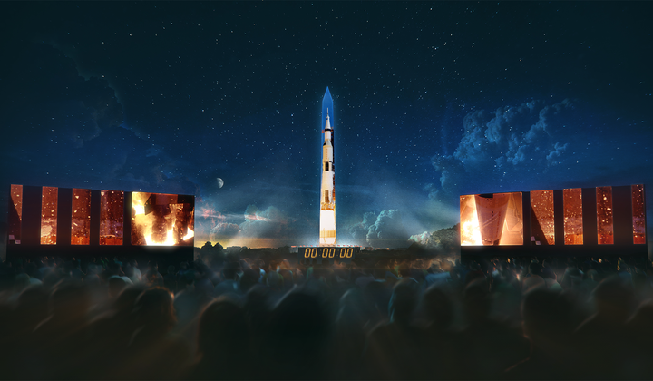 Apollo 11 Rocket Projected on D.C. Monument